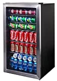 NewAir AB-1200 126 Can Freestanding Beverage Fridge in Stainless Steel with Glass Door and Adjustable Shelves