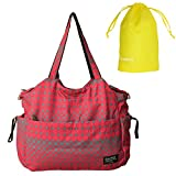 Damero Large Diaper Tote Satchel Bag with Drawstring Organizer Bag (Red)
