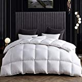 SNOWMAN White Goose Down Comforter Twin Size 100% Cotton Cover Down Proof Baffle Boxes Construction,Soft and Warm Duvet