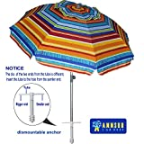 AMMSUN 7ft Beach Umbrella with Sand Anchor Sand Screw, Tilt, Windproof, Sun Protection,UPF 50+ Silver Coating Inside and Telescoping Pole for Outdoor Patio
