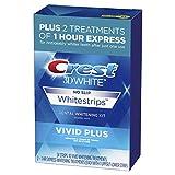Crest 3D White Whitestrips Vivid Plus Teeth Whitening Kit, 24 Individual Strips (10 Vivid Plus Treatments + 2 1hr Express Treatments)