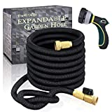 TheFitLife Flexible and Expandable Garden Hose - Strongest Triple Latex Core with 3/4' Solid Brass Fittings Free 8 Function Spray Nozzle, Easy Storage Kink Free Water Hose (25 FT)