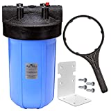 Aqua Filter Plus Whole House Water Filtration For Use With Sediment or Carbon Block Filter Cartridges – 10' Big Blue Housing and Mounting Kit With Housing Wrench, No Filter Cartridge Included