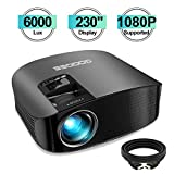 Projector, GooDee 2020 Upgrade HD Video Projector 6000L Outdoor Movie Projector, 230' Home Theater Projector Support 1080P, Compatible with Fire TV Stick, PS4, HDMI, VGA, AV and USB