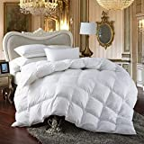 Premium All-Season King Size Luxury Siberian Goose Down Comforter Duvet Insert Hypoallergenic 1200 Thread Count 100% Egyptian Cotton (King, White Solid)