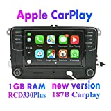 Amzparts RCD330 RCD330G Plus CarPlay App 6.5' MIB Car Radio for VW Tiguan Golf 5 6 Jetta MK5 MK6 Passat Polo Touran 6RD035187B