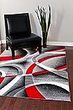 2305 Gray Black Red White Swirls 6'5 x 9'2 Modern Abstract Area Rug Carpet