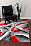 2305 Gray Black Red White Swirls 6'5 x 9'2 Modern Abstract Area Rug Carpet