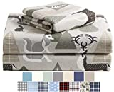 Morgan Home Cotton Turkish Flannel Sheets 100% Brushed Cotton for Supreme Comfort - Deep Pockets - Warm and Cozy, Great for All Seasons (Peaceful Forest, Twin)
