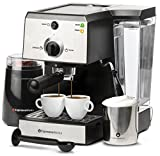 Espresso Machine & Cappuccino Maker with Milk Steamer- 15 Bar Pump, 7 Pc All-In-One Barista Bundle Set w/ Built-in Frother (Inc: Coffee Bean Grinder, Milk Frothing Cup, Tamper & 2 Cups), 1350W (Silver)