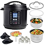 Yedi 9-in-1 Total Package Instant Programmable Pressure Cooker, 6 Quart, Deluxe Accessory kit, Recipes, Pressure Cook, Slow Cook, Rice Cooker, Yogurt Maker, Egg Cook, Sauté, Steamer, Black