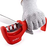 Kitchen Knife Sharpener - 3-Stage Knife Sharpening Tool Helps Repair, Restore and Polish Blades - Cut-Resistant Glove Included (Red)