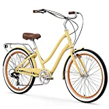 sixthreezero EVRYjourney Women's 7-Speed Step-Through Hybrid Cruiser Bicycle, 26' Wheels with 17.5' Frame, Cream with Brown Seat and Grips
