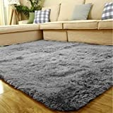 ACTCUT Super Soft Indoor Modern Shag Area Silky Smooth Fur Rugs Fluffy Rugs Anti-Skid Shaggy Area Rug Dining Room Home Bedroom Carpet Floor Mat 4- Feet by 5- Feet (Grey)