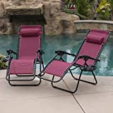 BELLEZE Burgundy Anti Gravity Chairs Set of (2) Adjustable Reclining w/Utility Tray Cup Recliner Patio Chair Seat Backyard