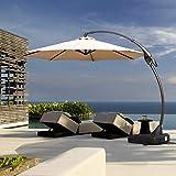 Grand patio Deluxe Napoli 10 FT Curvy Aluminum Offset Umbrella, Patio Cantilever Umbrella with Base, Champagne