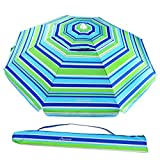 MOVTOTOP Beach Umbrella UV 50+, 6.5ft Umbrella with Sand Anchor & Tilt Aluminum Pole, Portable Beach Umbrella with Carry Bag for Beach Patio Garden Outdoor Blue/Green【2020 Upgraded】