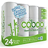Caboo Tree Free Bamboo Toilet Paper, Septic Safe, Biodegradable, Eco Friendly Bath Tissue with Soft, Quick Dissolving 2 Ply Sheets (300 Sheets Per Roll, 24 Double Rolls)