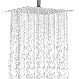 12 Inch Rain Shower Head, NearMoon Stainless Steel Bath Shower, Ultra Thin Rainfall Showerhead Waterfall Body Covering with Silicone Nozzle and Powerful Spray Performance(12'' Square)
