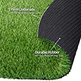 RoundLove Artificial Grass Turf, 3 Tone Synthetic Grass Patch Mat w/Drainage Holes, Lush & Hard Pet Turf Astroturf Rug, Fake Turf for Indoor & Outdoor Decor