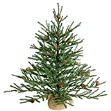 Vickerman Unlit Carmel Pine Artificial Christmas Tree Artificial Pine Cones Comes in Burlap Base, 24'