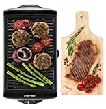 Chefman Indoor w/Non-Stick Cooking Surface & Adjustable Temperature Knob from Warm to Sear for Customized BBQ, Dishwasher Safe Removable Water Tray, Electric Smokeless Grill - Black