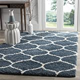 Safavieh Hudson Shag Collection SGH280L Slate Blue and Ivory Moroccan Ogee Plush Area Rug (3' x 5')